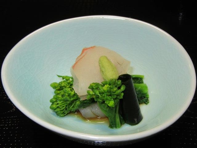 春の向付,鯛と菜の花の加減醤油