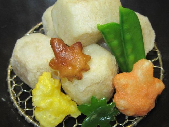 小芋の唐揚げ,秋の揚げ物,献立,紅葉,いちょう揚げ