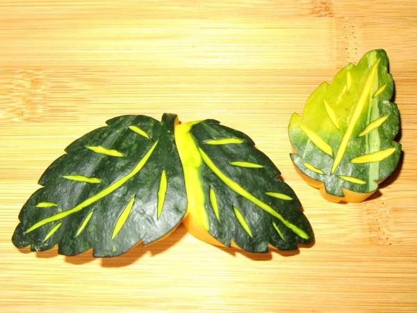 双葉の木の葉南瓜,かぼちゃ,飾り切り,このはなんきん