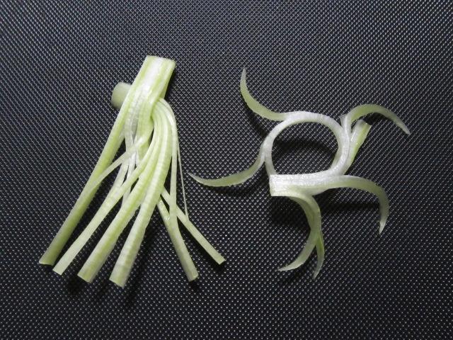唐草大根と末広大根,大根の葉を使った飾り切り