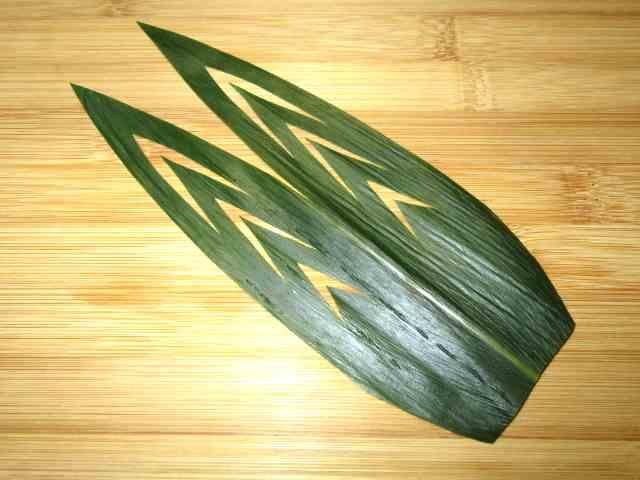 笹の葉の飾り切り,寿司や刺身のささの切り方