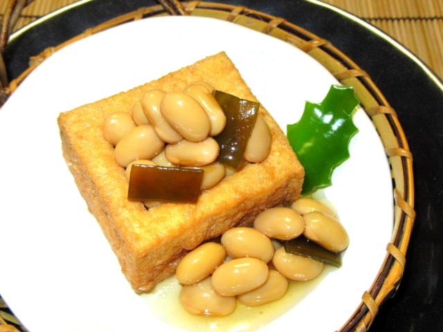 厚揚げの福豆ます,煮物の献立,ひいらぎピーマン