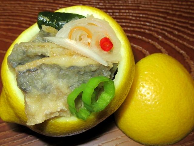 レモン釜にあじの南蛮漬け,酢の物の盛りつけ例