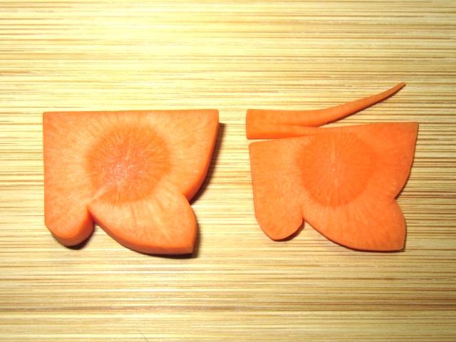 春の人参飾り切り方法,ちょうちょうの切り方,蝶々