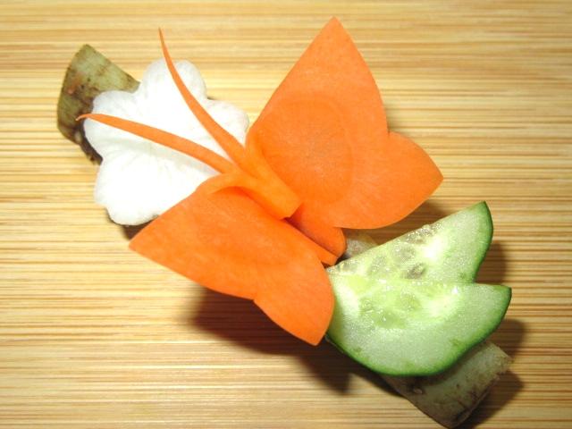 春の人参飾り切り,蝶々の切り方手順,ちょうちょう
