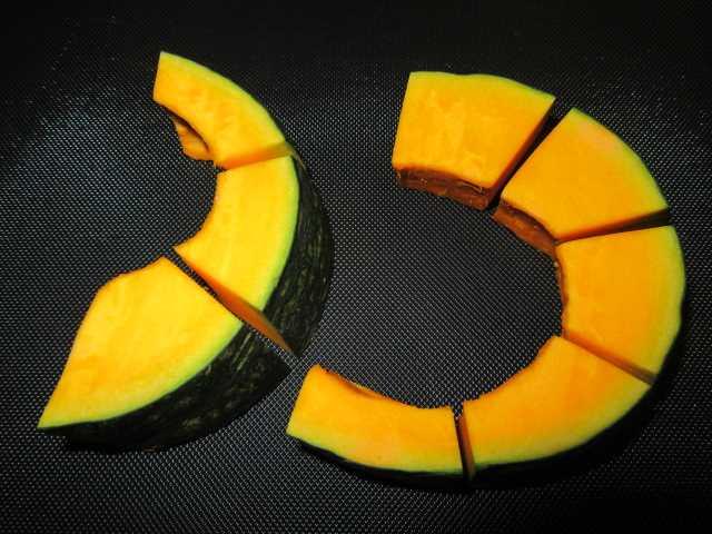 かぼちゃの切り方,色紙南瓜の飾り切り方法