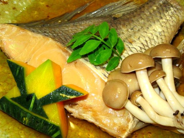 鯛あっさり煮,兜南瓜,かぶとなんきん,飾り切り,かぼちゃ