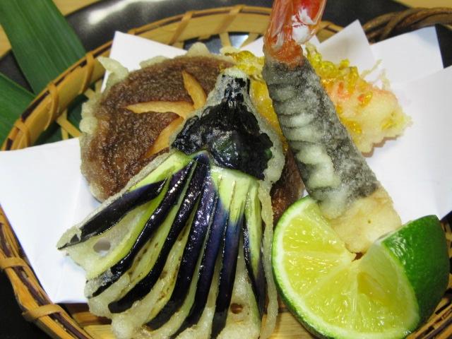 天ぷら,小茄子,椎茸,海老いそべ揚げ