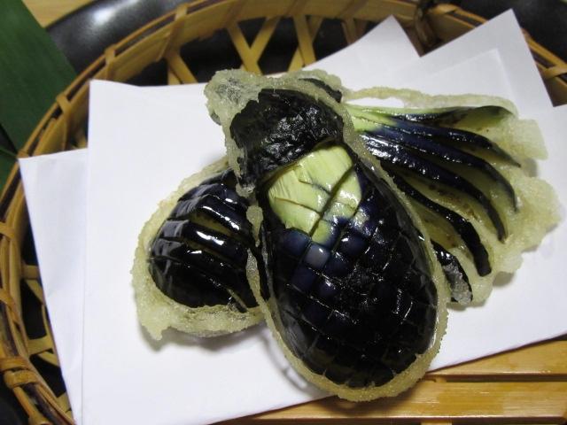 小なすの飾り切り,切り方,天ぷら野菜の飾り包丁