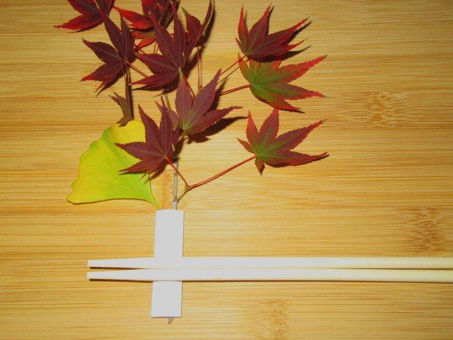 秋の箸置き,もみじといちょう