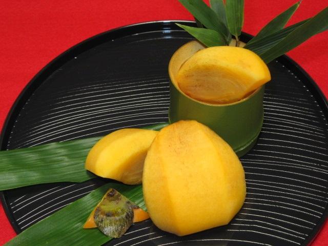 柿の切り方,飾り切り方法,簡単なむき方