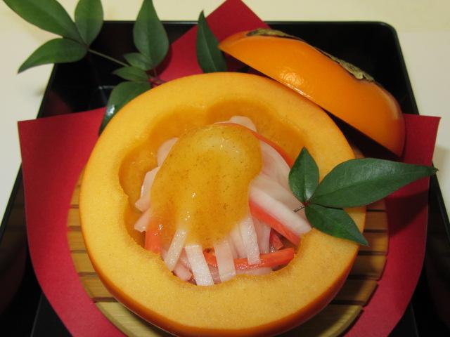 秋の酢の物の献立,柿釜の飾り切り方法