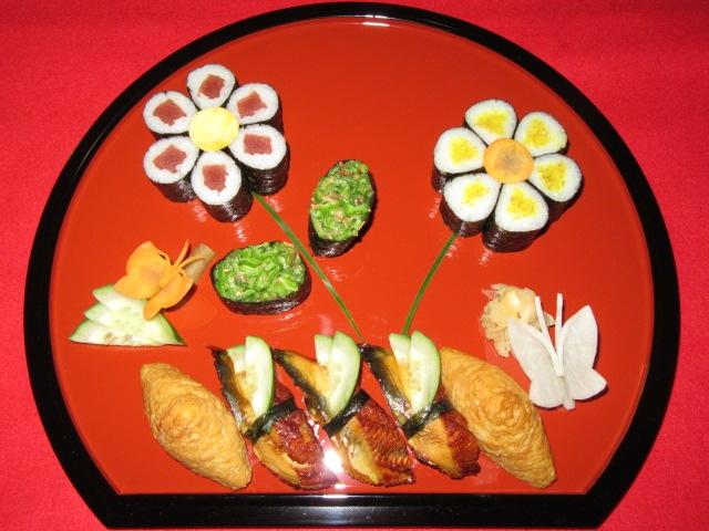細巻き寿司の花盛り方法,春のすし盛り合わせI