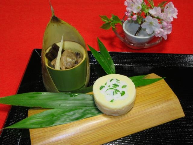 筍の木の芽寿司の作り方と盛りつけ,あさりのしょうが煮
