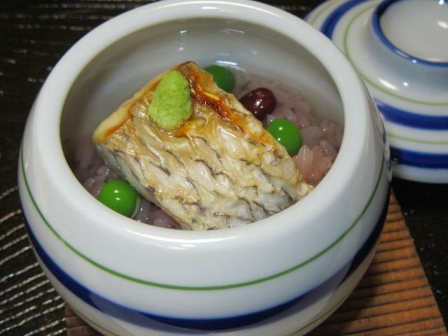 焼き鯛の赤飯蒸しの献立