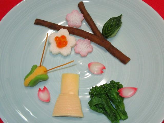 春の飾り切り方法,野菜の盛り付け手順