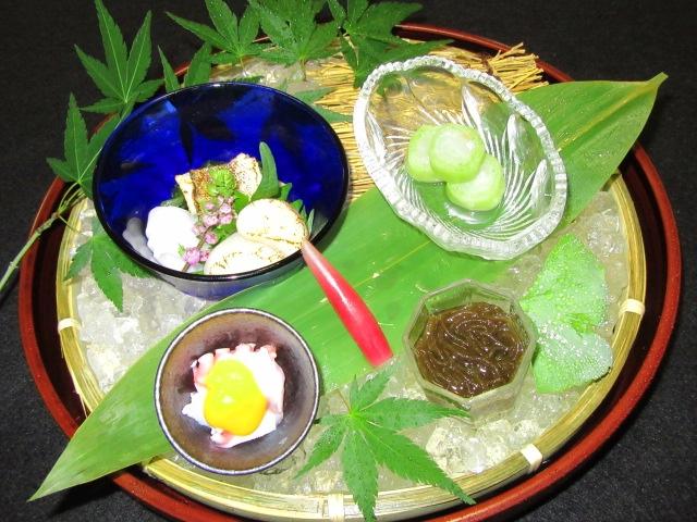 前菜の献立夏の料理,小鉢盛り合わせ,酢の物