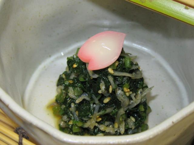 ふきの葉の炒め煮,山菜の小鉢