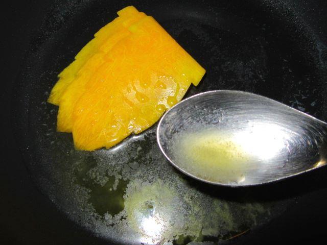 木の葉南瓜,かぼちゃの飾り切り方法,バター焼き