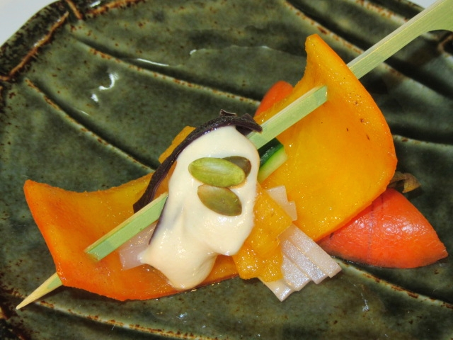 柿のごま酢掛け,秋の献立,酢の物