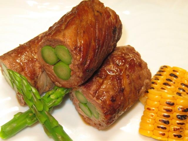 アスパラと牛肉の八幡巻き,肉巻きアスパラ,夏の焼き物の献立