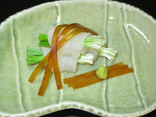 鯛の芽葱巻き,ひも醤油鞍かけ,春の刺身,向付