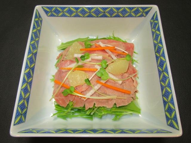 牛肉冷しゃぶのはりはりサラダ仕立て,肉料理の献立