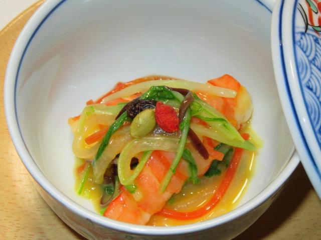 海老と野菜の五色和え,からし酢味噌,和え物や酢の物の献立
