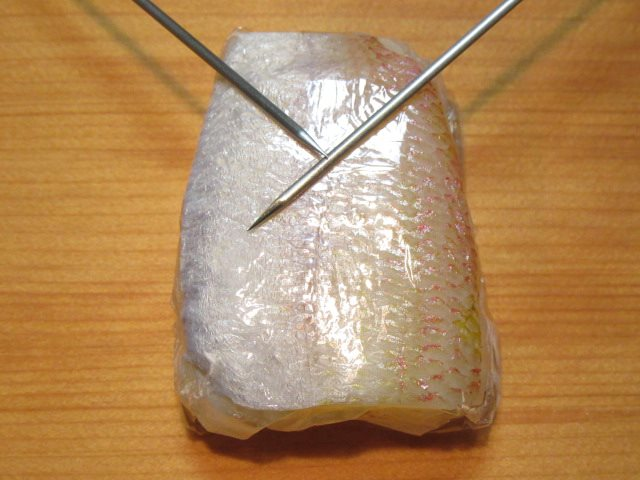 小鯛の笹漬けを使ったひな寿司の作り方手順,えりの切り込み方