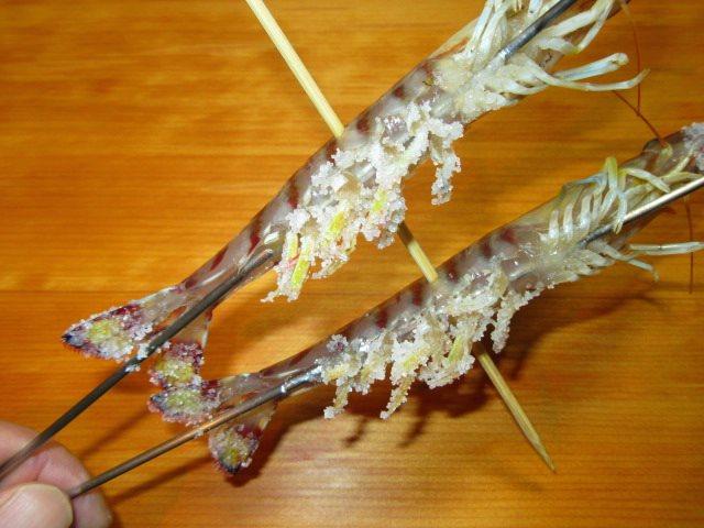 焼き物の献立車海老の化粧塩の手順