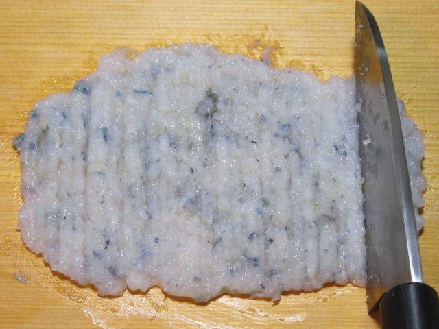 刃たたき海老の手順,えびのすり身の作り方