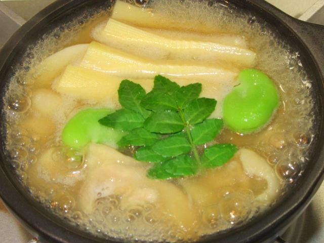 鶏肉と筍のうす葛鍋仕立て,吉野鍋の作り方,春の献立