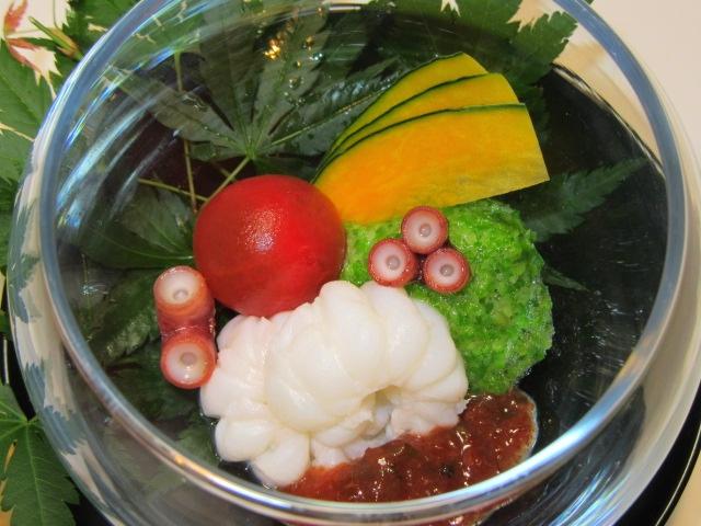 湯引き蛸の酢の物,よろいだこの土佐梅肉,たたきおくら,夏の献立