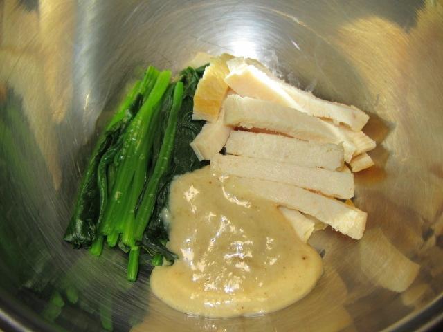 鶏むね肉とほうれん草のごまポン酢和えの作り方手順,冬の和え物の献立