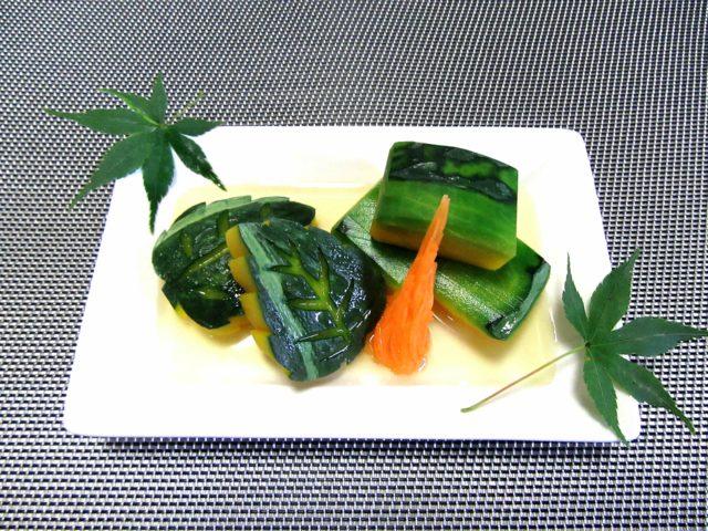 かぼちゃの煮物,色紙南瓜と木の葉南瓜