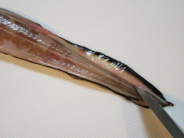 開き穴子の下処理手順,背びれに切り込みを入れる工程