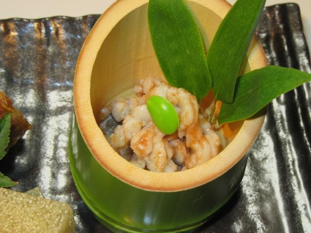 鱧の湯引き梅肉和え,枝豆