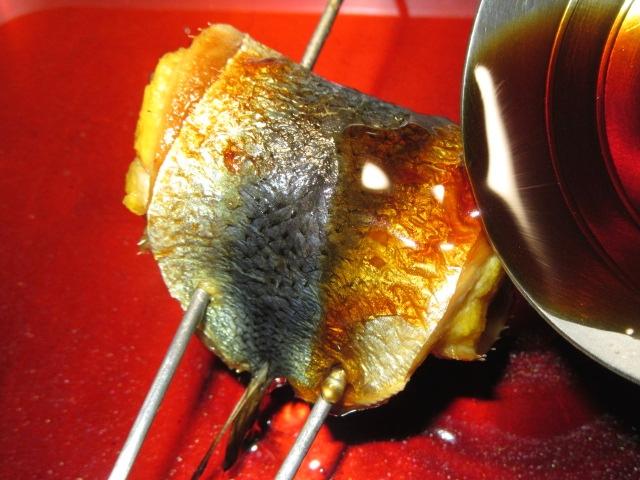 いわしの玉子けんちん焼きの作り方,たれ焼き工程